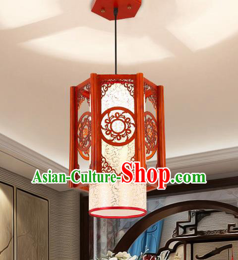 Traditional Asian Wood Carving Lanterns Handmade Hanging Ceiling Lantern Ancient Lamp