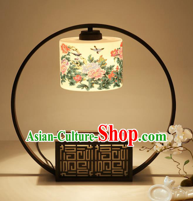 Traditional China Ancient Painting Peony Lanterns Handmade Desk Lantern Ancient Lamp
