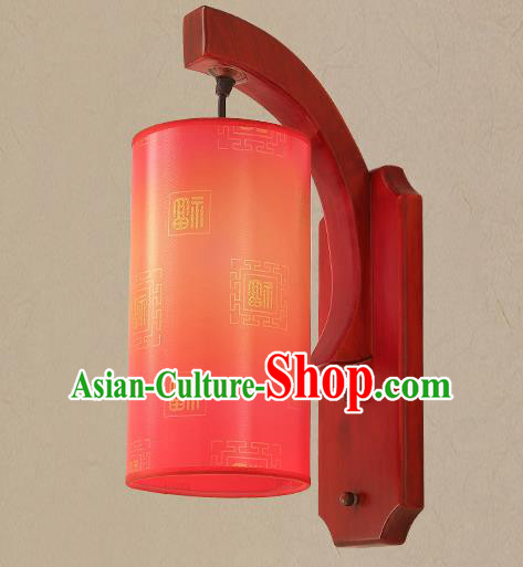 Traditional China Ancient Painting Red Lanterns Handmade Wood Lantern Ancient Wall Lamp