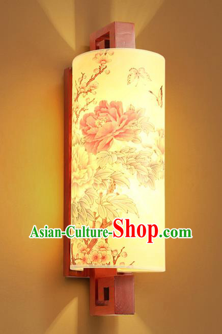 Traditional China Ancient Painted Peony Lanterns Handmade Wood Lantern Ancient Wall Lamp