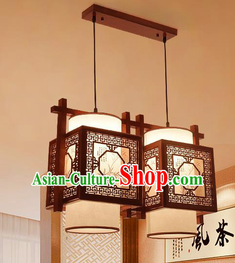 Traditional Asian Wood Carving Lanterns Handmade Two-Lights Ceiling Lantern Ancient Hanging Lamp