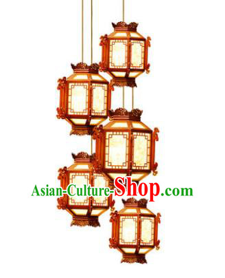 Traditional Chinese Palace Ceiling Lanterns Handmade Hanging Wood Lantern Ancient Lamp
