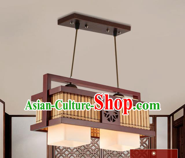 Traditional Chinese Wood Palace Ceiling Lanterns Handmade Two-Lights Hanging Lantern Ancient Lamp