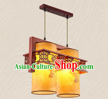 Traditional Chinese Wood Carving Ceiling Lanterns Handmade Two-Lights Hanging Lantern Ancient Lamp