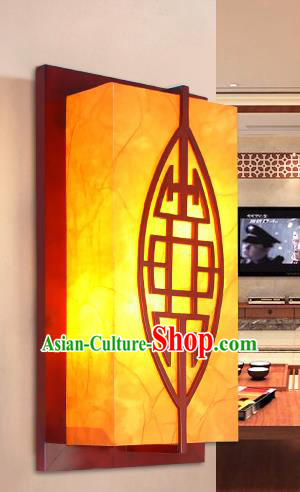 Traditional China Ancient Wood Yellow Wall Lanterns Handmade Carving Lantern Ancient Lamp