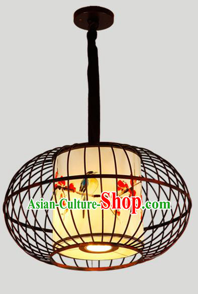Traditional Chinese Iron Hanging Lanterns Ancient Handmade Lantern Ancient Painted Birds Lamp