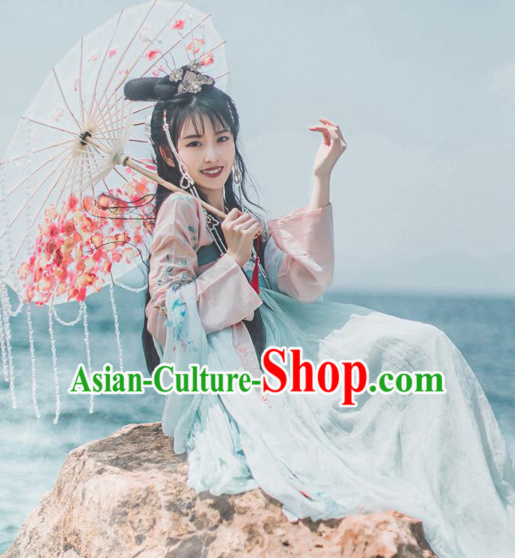 Chinese Ancient Palace Lady Historical Costume Tang Dynasty Princess Embroidered Dress for Women