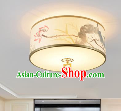 Traditional Chinese Ink Painting Lotus Lanterns Ancient Handmade Ceiling Lantern Ancient Lamp