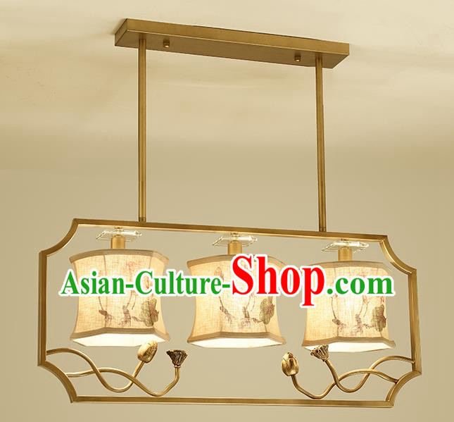 Traditional Handmade Chinese Painting Lotus Hanging Lanterns Ancient Three-Lights Ceiling Lantern Ancient Lamp