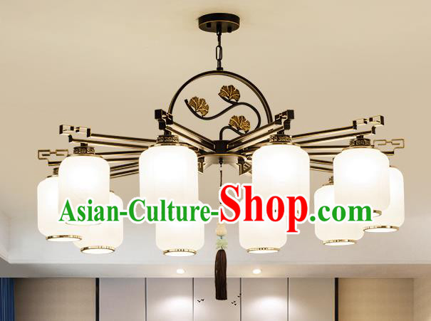 Traditional Handmade Chinese Iron Carving Hanging Lanterns Ancient Ten-Lights Ceiling Lantern Ancient Lamp