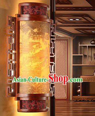 China Handmade Parchment Wall Lantern Painting Wood Lanterns Traditional Lamp