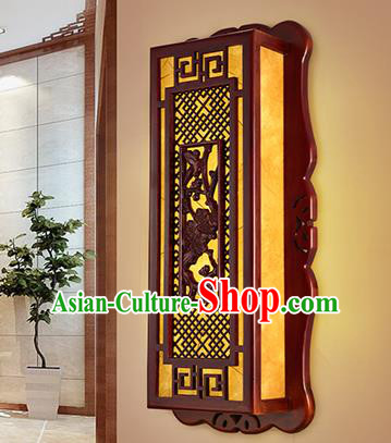 China Handmade Parchment Wall Lantern Wood Carving Lanterns Traditional Lamp