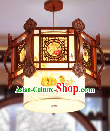 Traditional Chinese Handmade Painted Lantern Asian Wood Ceiling Lanterns Ancient Lantern