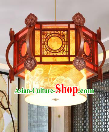 Traditional Chinese Handmade Wood Lantern Asian Painted Ceiling Lanterns Ancient Lantern