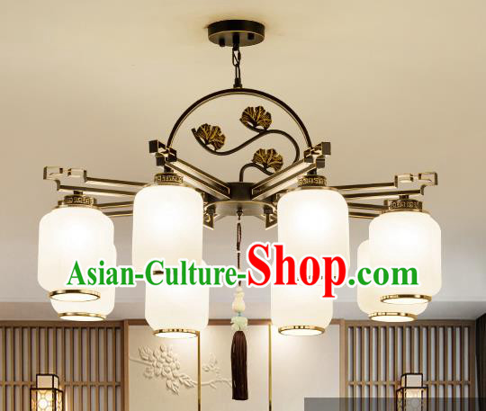 Traditional Handmade Chinese Iron Carving Hanging Lanterns Ancient Eight-Lights Ceiling Lantern Ancient Lamp