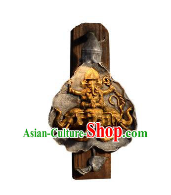 Handmade Traditional Thailand Elephant Lantern Asian Wood Carving Wall Lanterns Religion Lantern