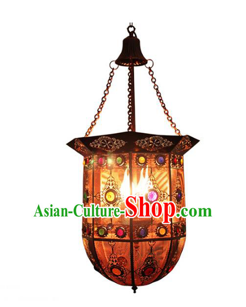 Handmade Traditional Thailand Iron Hanging Lantern Asian Ceiling Lanterns Religion Lantern