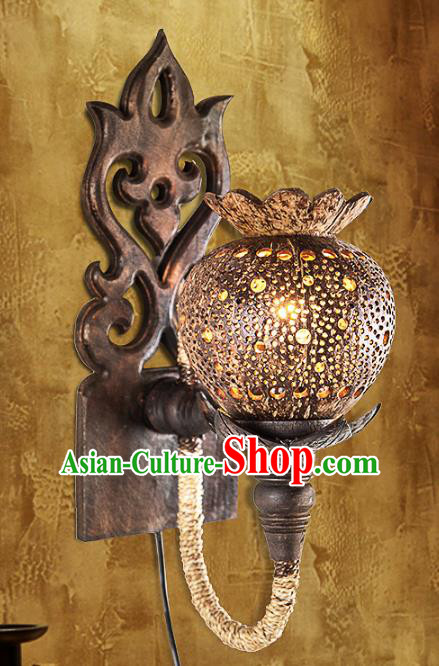 Handmade Traditional Thailand Coconut Shell Lantern Asian Carving Wall Lanterns Religion Lantern