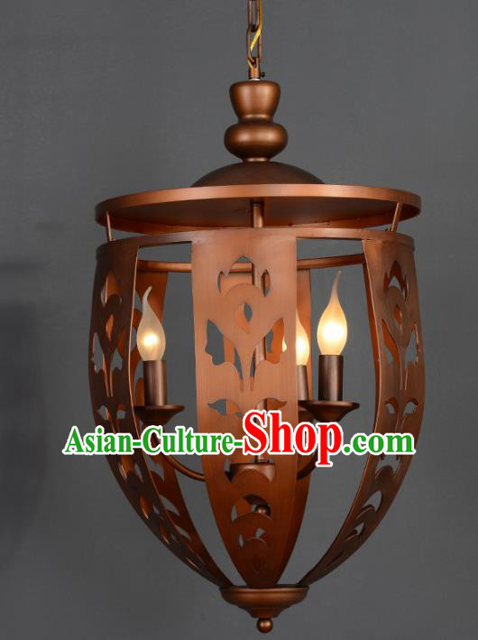 Handmade Traditional Thailand Carving Hanging Lantern Asian Iron Ceiling Lanterns Religion Lantern