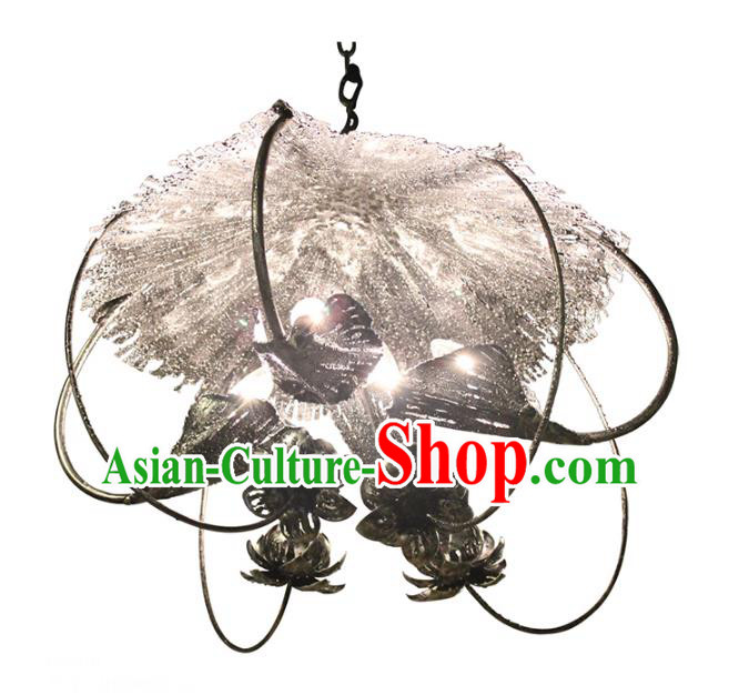 Handmade Traditional Thailand Iron Lotus Hanging Lantern Asian Ceiling Lanterns Religion Lantern