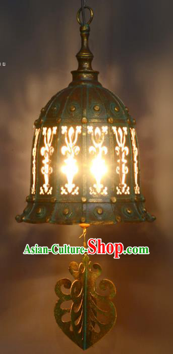 Traditional Thailand Handmade Iron Hanging Lantern Asian Ceiling Lanterns Religion Lantern