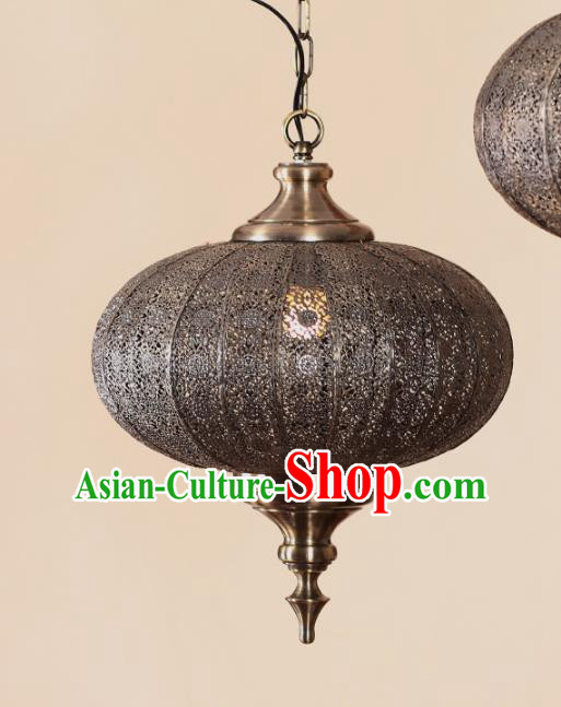 Traditional Thailand Handmade Pierced Iron Hanging Lantern Southeast Asian Ceiling Lanterns Religion Lantern