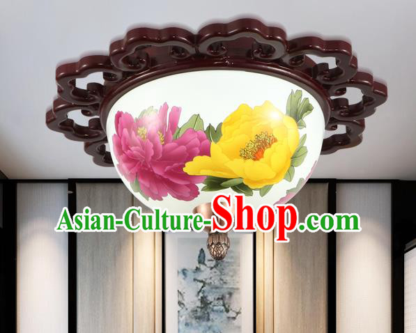 Traditional Chinese Handmade Ceramics Lantern Asian Wood Painting Peony Ceiling Lanterns Ancient Lantern