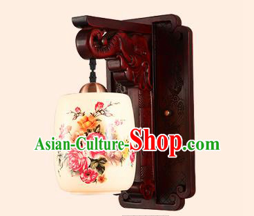 China Handmade Ceramics Lantern Ancient Wood Wall Lanterns Traditional Painted Flowers Lamp