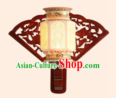 China Handmade Ceramics Wall Lantern Ancient Wood Lanterns Traditional Lamp