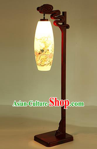 China Handmade Painting Ceramics Floor Lantern Ancient Wood Lanterns Traditional Lamp