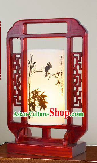 China Handmade Palace Lanterns Ink Painting Bamboo Birds Lantern Ancient Wood Lanterns Traditional Lamp