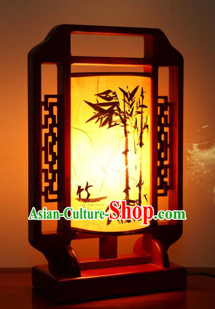 China Handmade Palace Lanterns Ink Painting Bamboo Desk Lantern Ancient Wood Lanterns Traditional Lamp