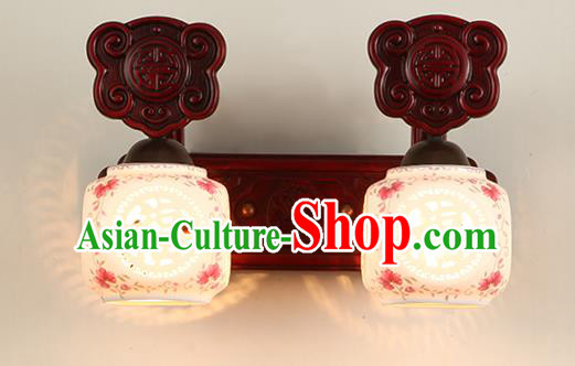 China Handmade Palace Lanterns Two-Lights Ceramics Wall Lantern Ancient Wood Lanterns Traditional Lamp
