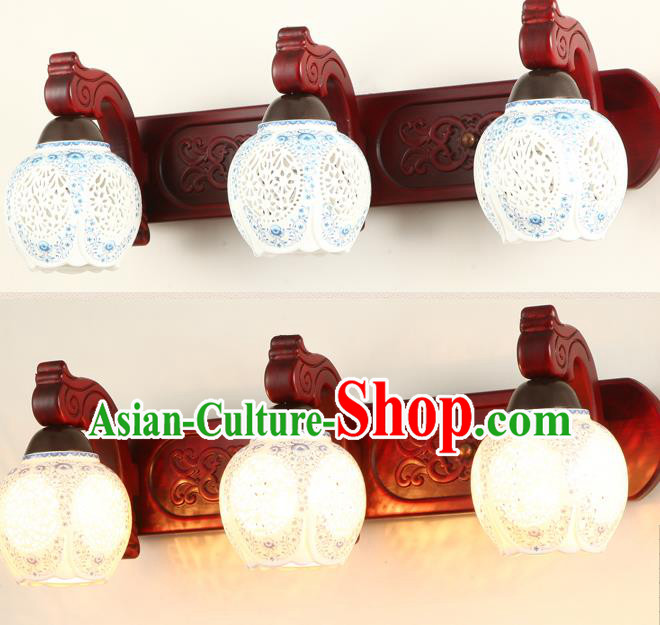 China Handmade Palace Lanterns Pierced Ceramics Three-Lights  Wall Lantern Ancient Wood Lanterns Traditional Lamp