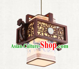 Traditional Chinese Handmade Hanging Lantern Painting Lotus Wood Lantern Ancient Palace Ceiling Lanterns