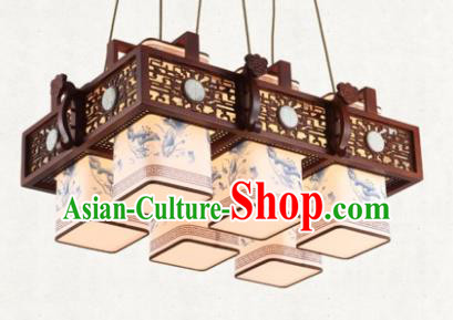 Traditional Chinese Handmade Six-Lights Hanging Lantern Painting Lotus Wood Lantern Ancient Palace Ceiling Lanterns