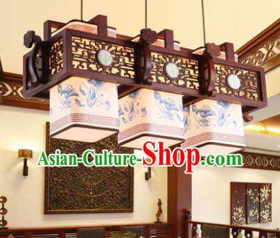 Traditional Chinese Handmade Three-Lights Hanging Lantern Painting Lotus Wood Lantern Ancient Palace Ceiling Lanterns