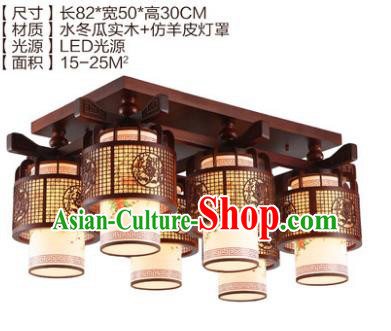 Traditional Chinese Handmade Six-Lights Lantern Wood Carving Lantern Ancient Palace Ceiling Lanterns