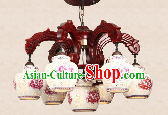 Traditional Chinese Handmade Seven-Pieces Ceiling Lantern Wood Palace Lanterns Ancient Lamp