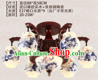 Traditional Chinese Handmade Six-Lights Lantern Painting Lotus Lantern Ancient Palace Ceiling Lanterns