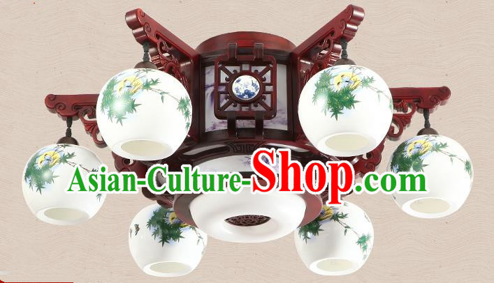 Traditional Chinese Handmade Six-Lights Lantern Painting Bamboo Leaf Lantern Ancient Palace Ceiling Lanterns