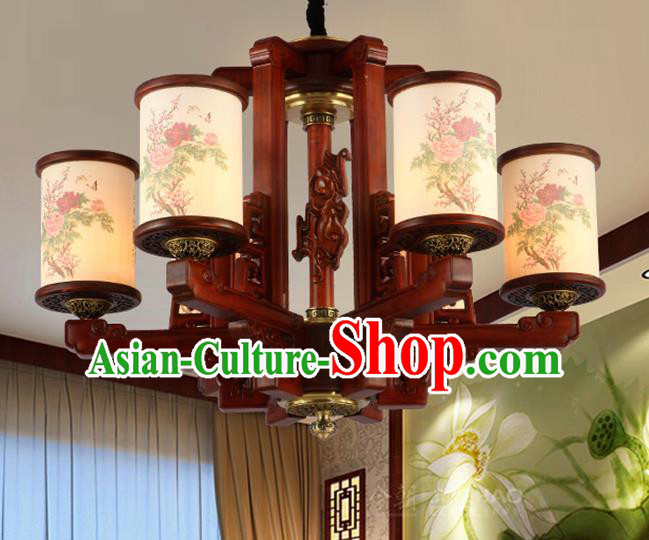 Traditional Chinese Handmade Painting Peony Wood Lantern Six-Lights Palace Lantern Ancient Ceiling Lanterns