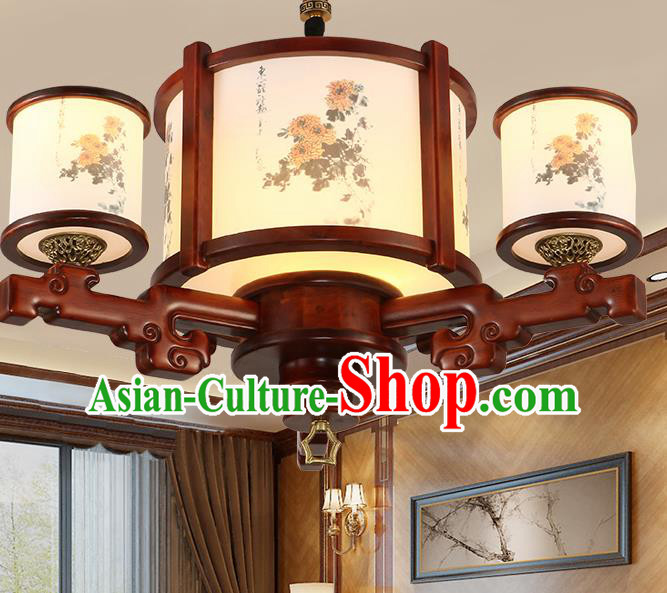 Traditional Chinese Handmade Painting Chrysanthemum Wood Lantern Three-Lights Palace Lantern Ancient Ceiling Lanterns