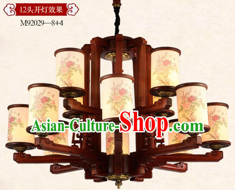 Traditional Chinese Handmade Painting Peony Wood Lantern Twelve-Lights Palace Lantern Ancient Ceiling Lanterns