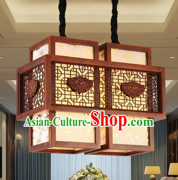 Traditional Chinese Handmade Sheepskin Lantern Two-Lights Wood Palace Lantern Ancient Ceiling Lanterns