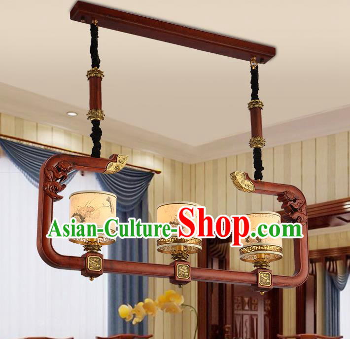 Traditional Chinese Handmade Hanging Lantern Three-Lights Wood Palace Lantern Ancient Ceiling Lanterns