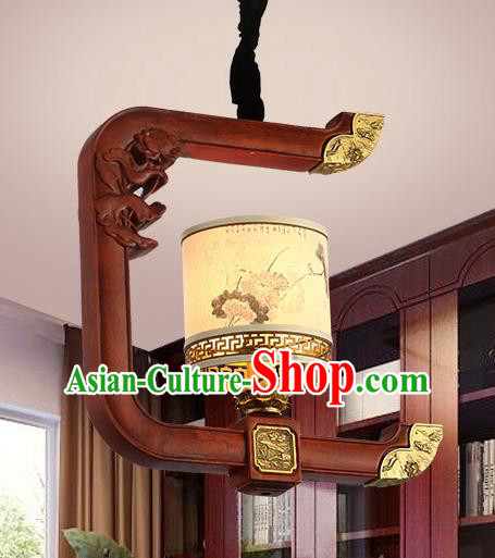 Traditional Chinese Handmade Hanging Lantern Painted Wood Palace Lantern Ancient Ceiling Lanterns
