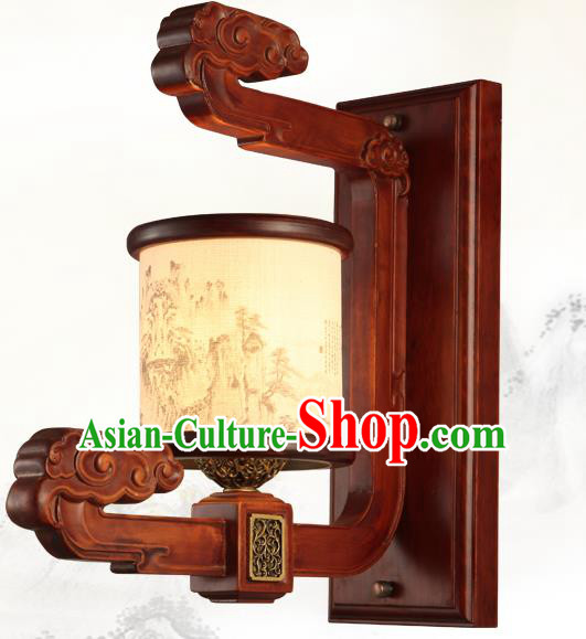 China Handmade Palace Lanterns Wood Wall Lantern Ancient Landscape Painting Lanterns Traditional Lamp