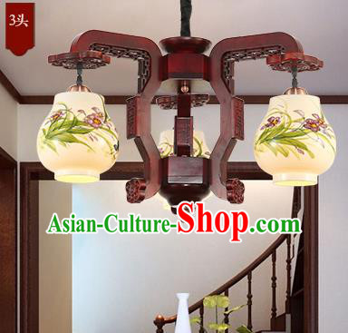 Traditional Chinese Handmade Painting Orchid Lantern Three-Lights Palace Lantern Ancient Ceiling Lanterns