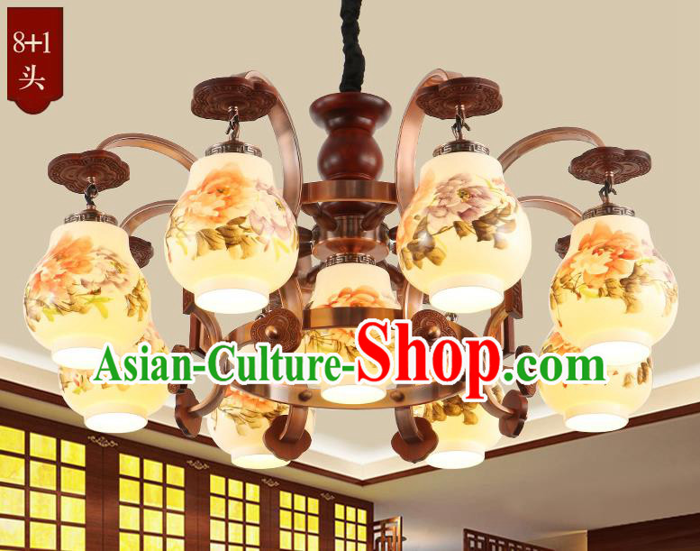 Traditional Chinese Handmade Painting Peony Lantern Nine-Lights Palace Lantern Ancient Ceiling Lanterns
